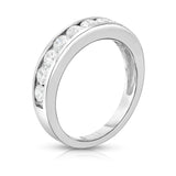 14K White Gold Diamond (0.90 Ct, I1-I2 Clarity, G-H Color) Channel Wedding Band