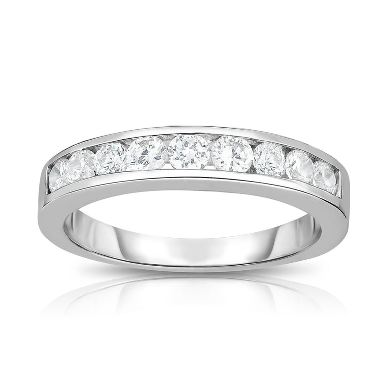 14K White Gold Diamond (1/2 Ct, I1-I2 Clarity, G-H Color) Channel Wedding Band