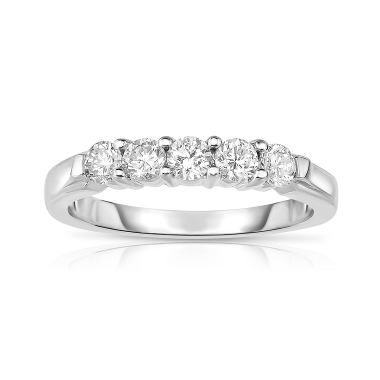 14K White Gold 5-Stone Diamond (0.50 Ct, G-H Color, SI2-I1 Clarity) Engagement Ring