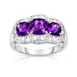 14k Gold Cushion Cut Gemstone and Diamond (0.15 Ct, G-H, SI2-I1) Cocktail Ring