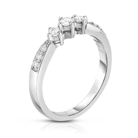 14K White Gold 3-Stone Diamond (0.25 Ct, G-H Color, I1-I2 Clarity) Engagement Ring
