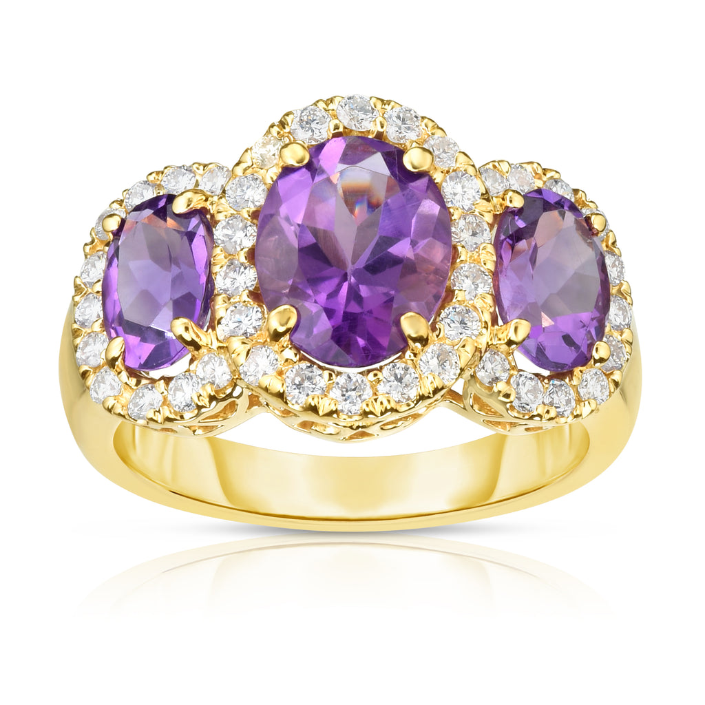 14K Gold Oval Shape Gemstone & Diamond (0.52 Ct, G-H Color, SI2-I1 Clarity) Ring