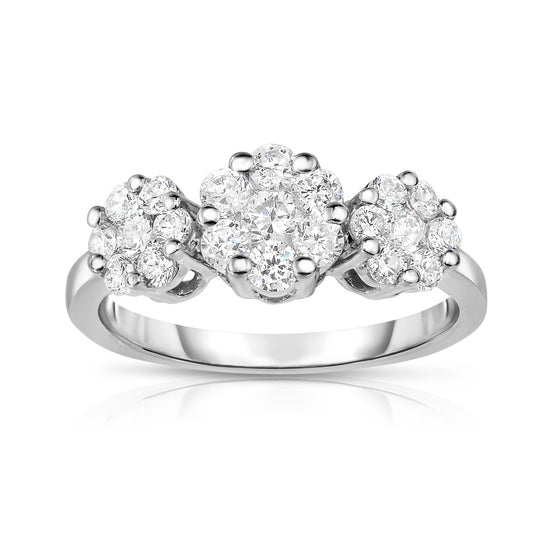 14K White Gold Diamond (0.95 Ct, G-H Color, SI2-I1 Clarity) Cluster Ring