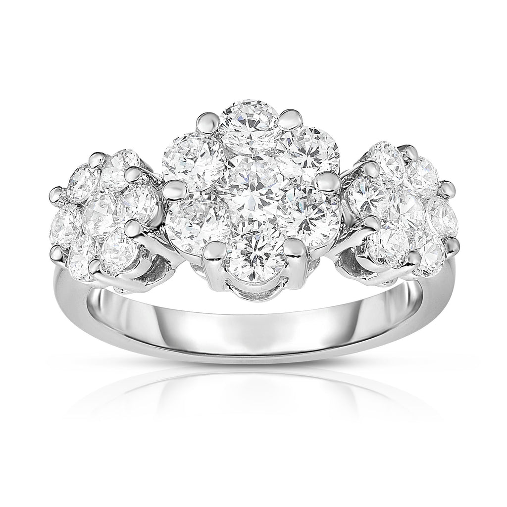 14K White Gold Diamond (1.90 Ct, G-H Color, SI2-I1 Clarity) Cluster Ring