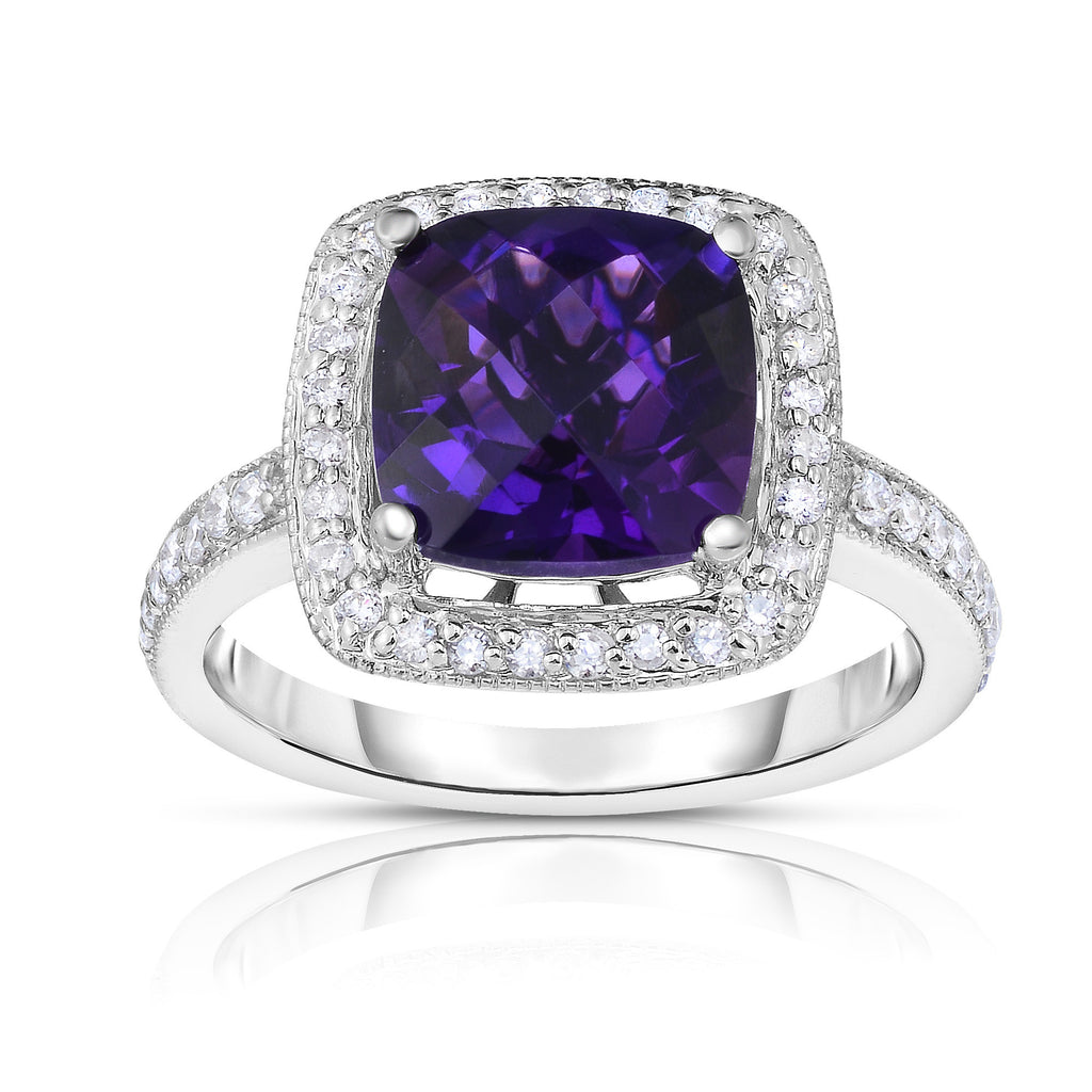14K White Gold Cushion Gemstone & Diamond (0.40 Ct, G-H Color, SI2-I1 Clarity) Ring