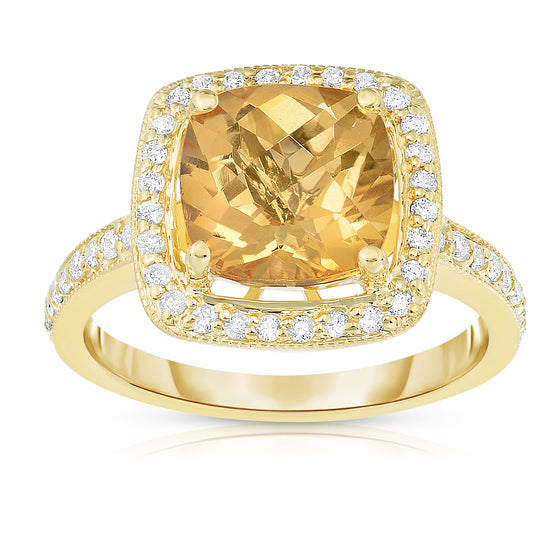 14K Yellow Gold Cushion Citrine & Diamond (0.40 Ct, G-H, SI2-I1 Clarity) Milligrain Ring