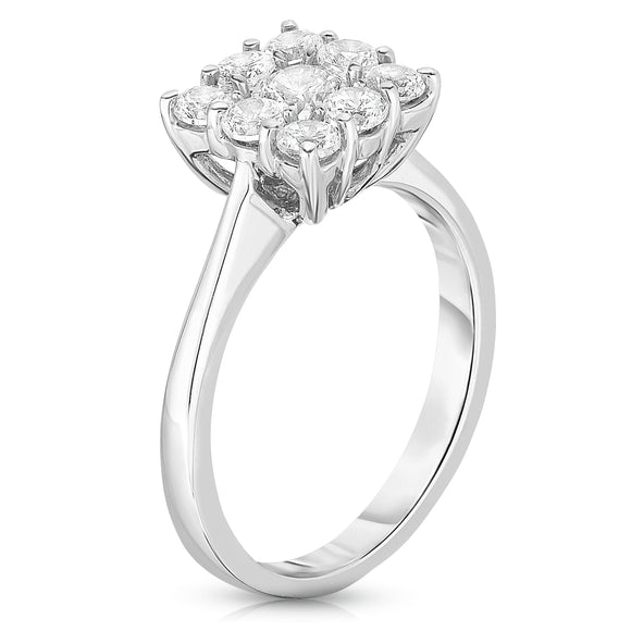 14K White Gold Diamond (1.00 Ct, G-H Color, SI2-I1 Clarity) Square Cluster Ring
