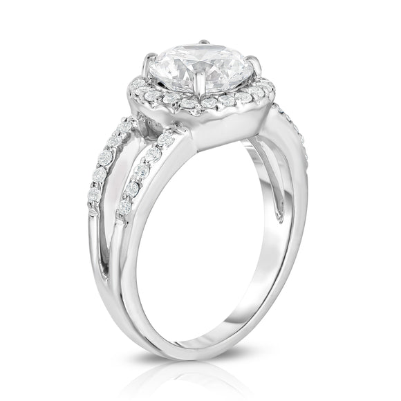 GIA Certified 14K White Gold Diamond (2.40 Ct, G Color, SI2 Clarity) Halo Engagement Ring