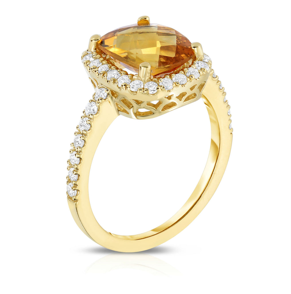 14K Yellow Gold Emerald Shape Citrine & Diamond (0.50 Ct, G-H Color, SI2-I1 Clarity) Ring