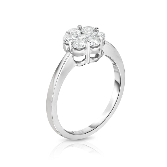 14K White Gold Diamond (0.75 Ct, G-H Color, I1-I2 Clarity) Cluster Ring