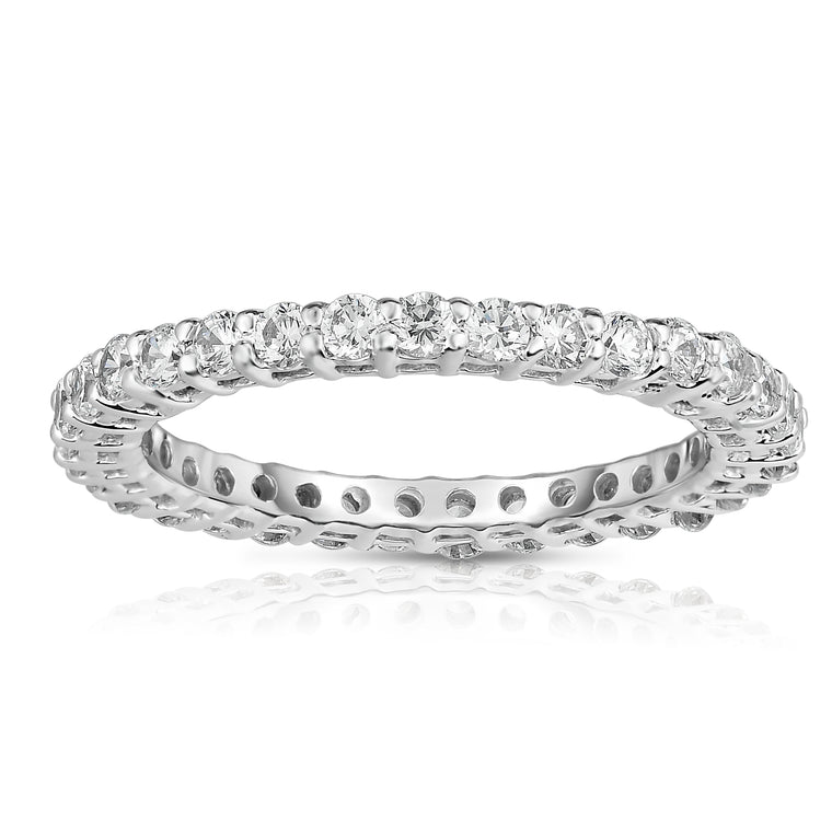 14K White Gold Diamond (0.90-1.00 Ct, G-H Color, SI2-I1 Clarity) Eternity Band