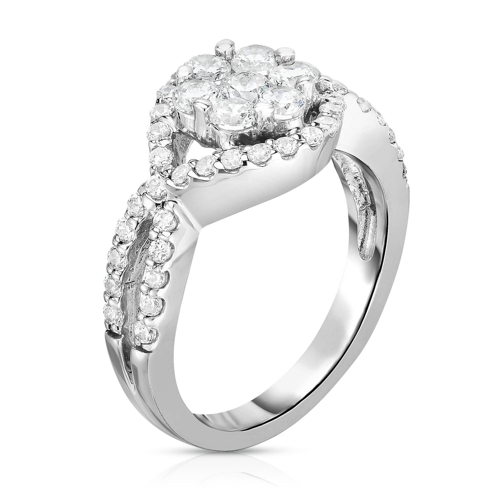 14K White Gold Diamond (1.10 Ct, G-H Color, SI2-I1 Clarity) Cluster Ring