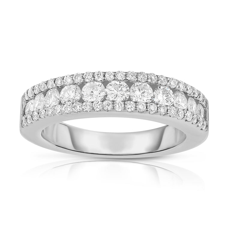 14K White Gold Diamond (1.10 Ct, G-H Color, SI2-I1 Clarity) Wide Wedding Band