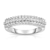 14K White Gold Diamond (0.80 Ct, G-H Color, SI2-I1 Clarity) 3-Row Wedding Band