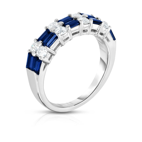 14K White Gold Blue Sapphire & Diamond (0.50 Ct, G-H Color, SI2-I1 Clarity) Ring