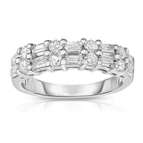 14K White Gold Diamond (1.30 Ct, G-H Color, SI2-I1 Clarity) Baquette Wedding Band