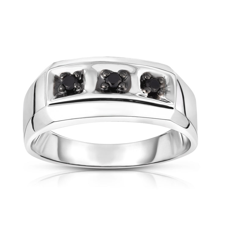 14K White Gold Black Diamond (0.14 Ct, I1-I2 Clarity, Black Color) Men's 3-Stone Ring