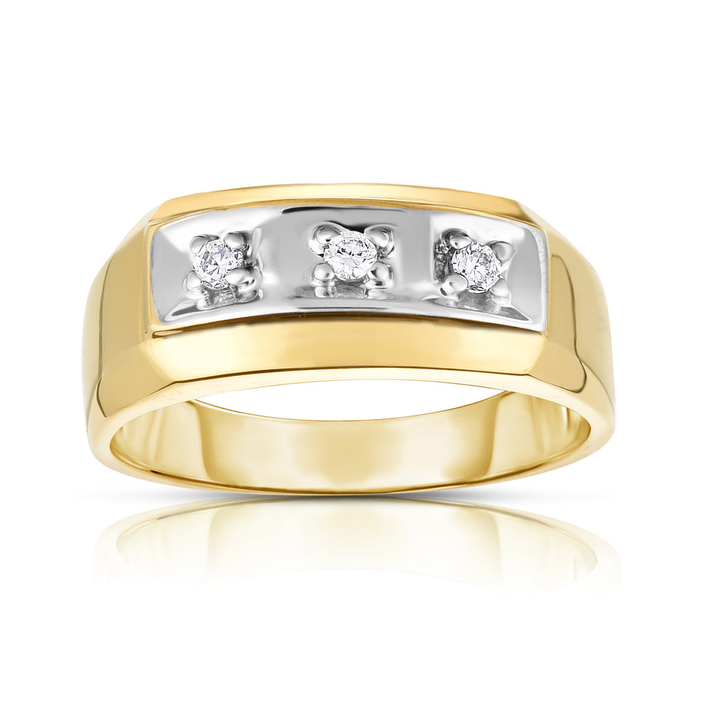 14K Gold Diamond (0.12 Ct, I1-I2 Clarity, G-H Color) Men's 3-Stone Ring