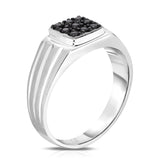 14K White Gold Diamond (0.24 Ct, I1-I2 Clarity, Black Color) Men's 9-Stone Ring