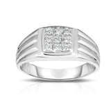 14K Gold Diamond (0.22 Ct, I1-I2 Clarity, G-H Color) Men's 9-Stone Ring