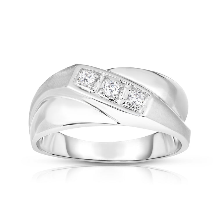 14K Gold Diamond (0.15 Ct, I1-I2 Clarity, G-H Color) Men's 3-Stone Ring
