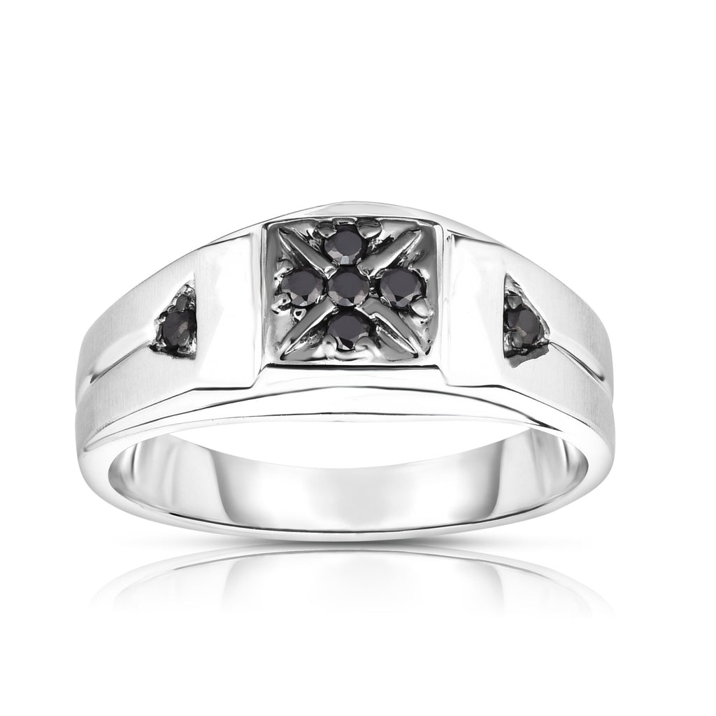 14K Gold Black Diamond (0.14 Ct, I1-I2 Clarity, Black Color) Men's 7-Stone Ring