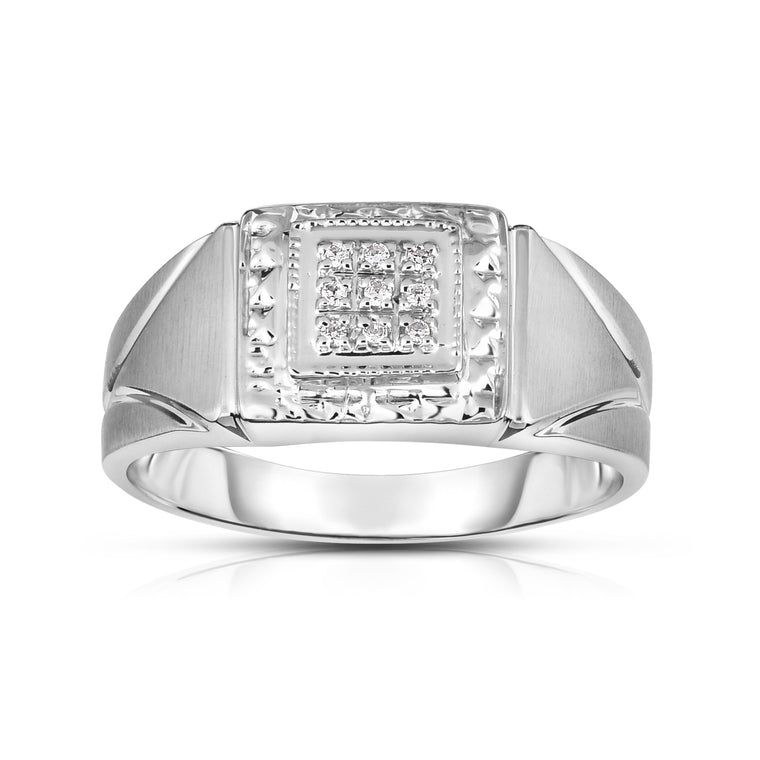 14K Gold Diamond (0.05 Ct, I1-I2 Clarity, G-H Color) Men's 9-Stone Ring