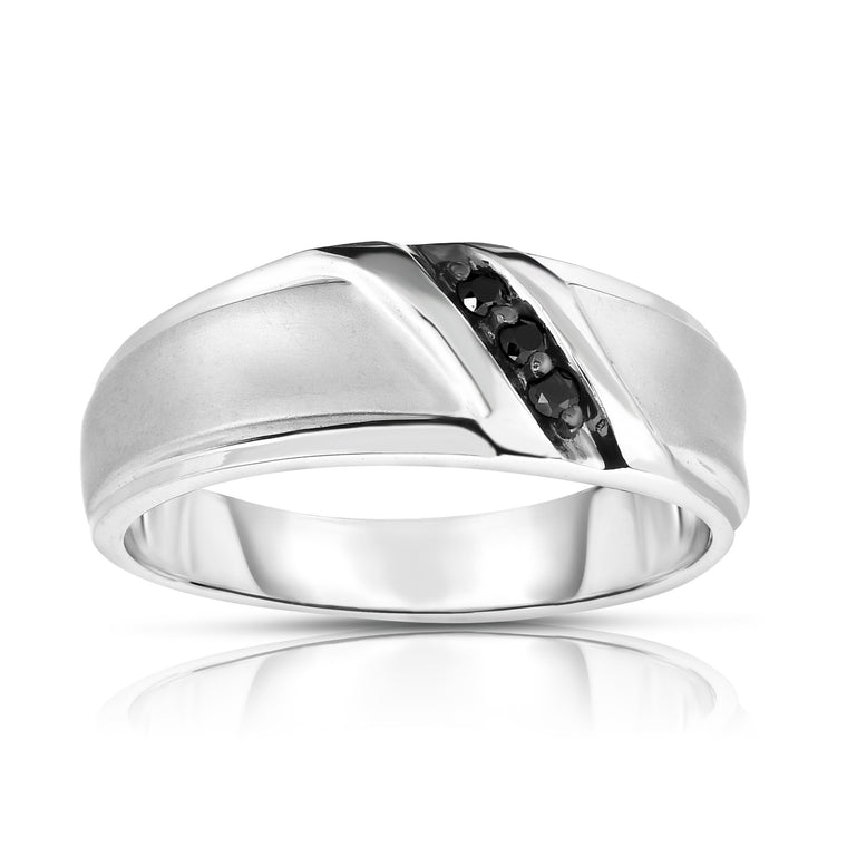 14K White Gold Black Diamond (0.08 Ct, I1-I2 Clarity, Black Color) Men's 3-Stone Ring