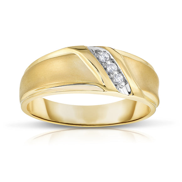 14K Gold Diamond (0.06 Ct, I1-I2 Clarity, G-H Color) Men's 3-Stone Ring