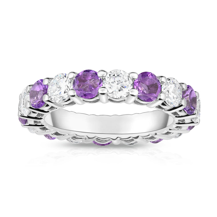 14K White Gold Amethyst & Diamond (4.00 Ct-5.00 Ct, SI2-I1 Clarity) Eternity Ring