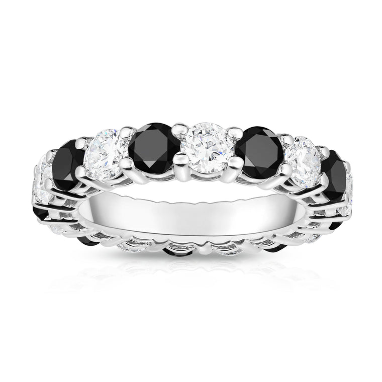 14K White Gold Black & White Diamond (4.00 Ct-5.00 Ct, SI2-I1 Clarity) Eternity Ring