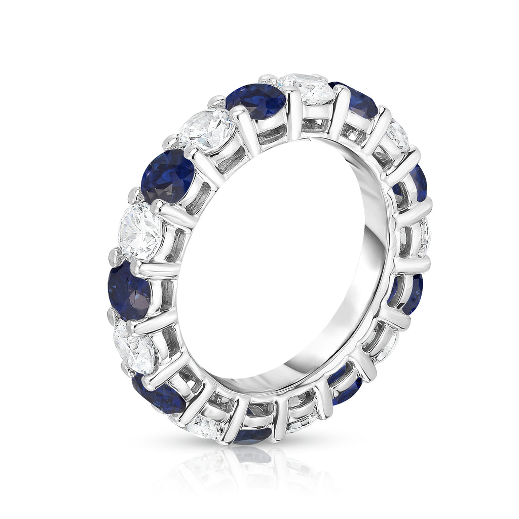 14K White Gold Blue Sapphire & Diamond (4.00 Ct-5.00 Ct, SI2-I1 Clarity) Eternity Ring