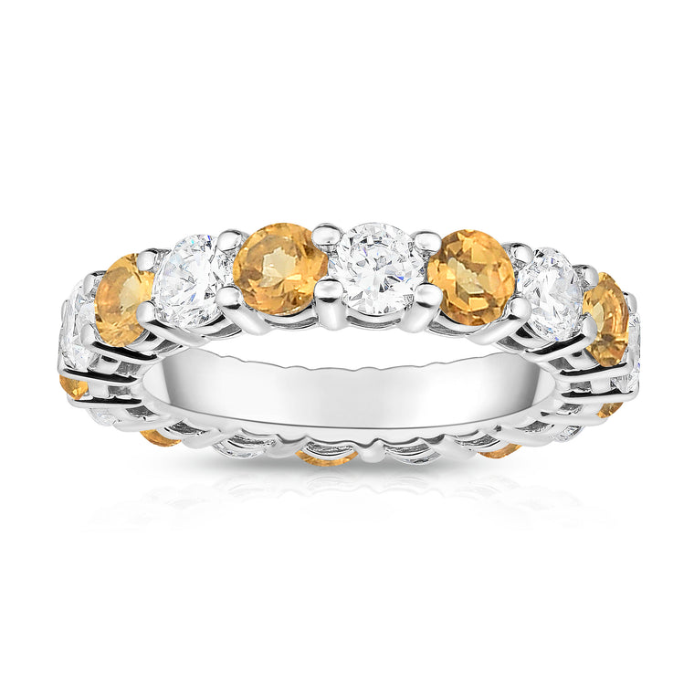 14K White Gold Citrine & Diamond (4.00 Ct-5.00 Ct, SI2-I1 Clarity) Eternity Ring