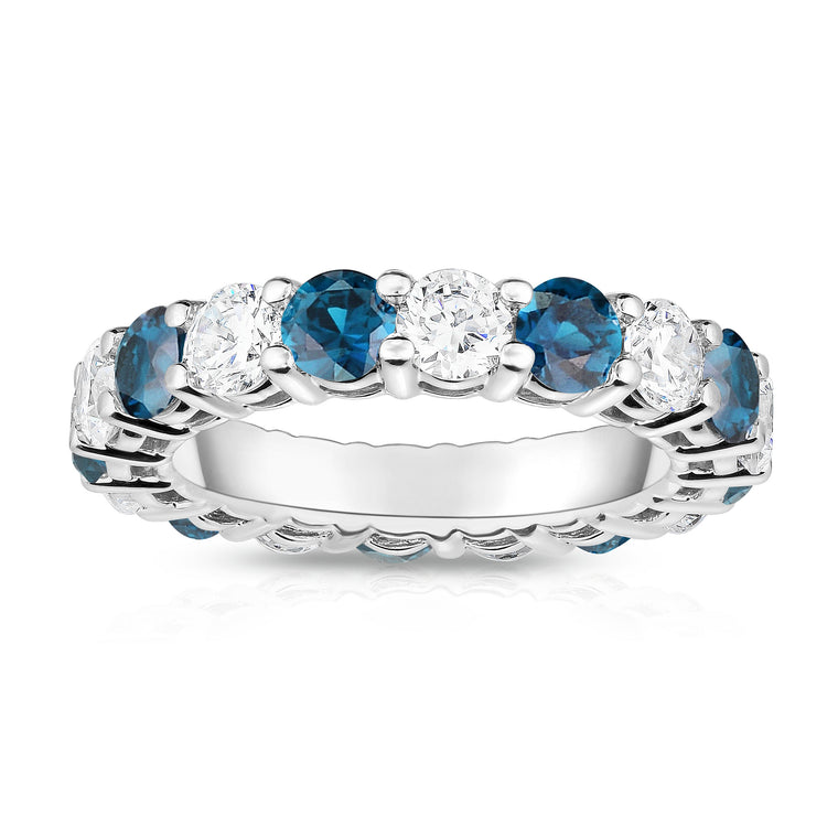 14K White Gold London Blue Topaz & Diamond (4.00 Ct-5.00 Ct, SI2-I1 Clarity) Eternity Ring