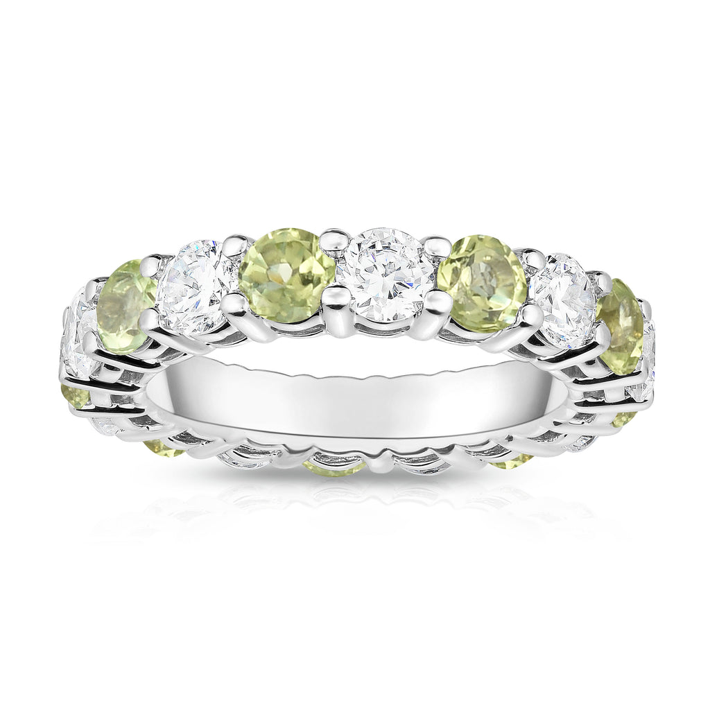 14K White Gold Peridot & Diamond (4.00 Ct-5.00 Ct, SI2-I1 Clarity) Eternity Ring