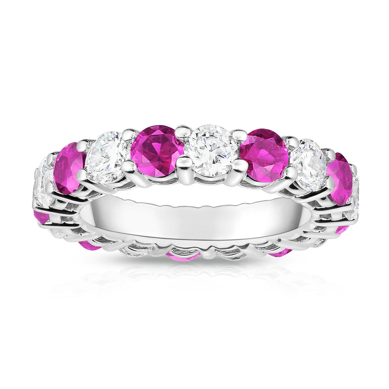 14K White Gold Pink Sapphire & Diamond (4.00 Ct-5.00 Ct, SI2-I1 Clarity) Eternity Ring