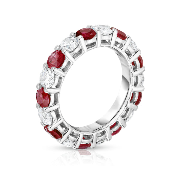 14K White Gold Ruby & Diamond (4.00 Ct-5.00 Ct, SI2-I1 Clarity) Eternity Ring