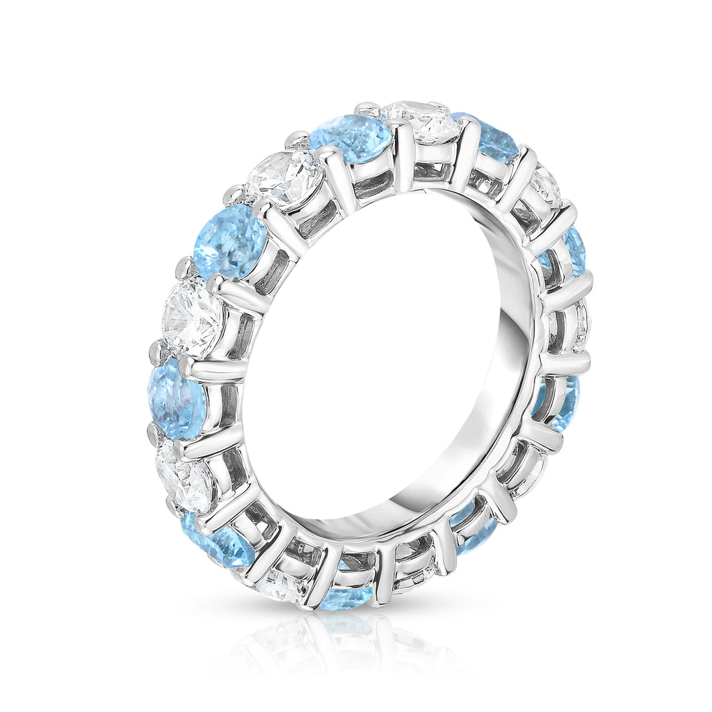 14K White Gold Swiss Blue Topaz & Diamond (4.00 Ct-5.00 Ct, SI2-I1 Clarity) Eternity Ring