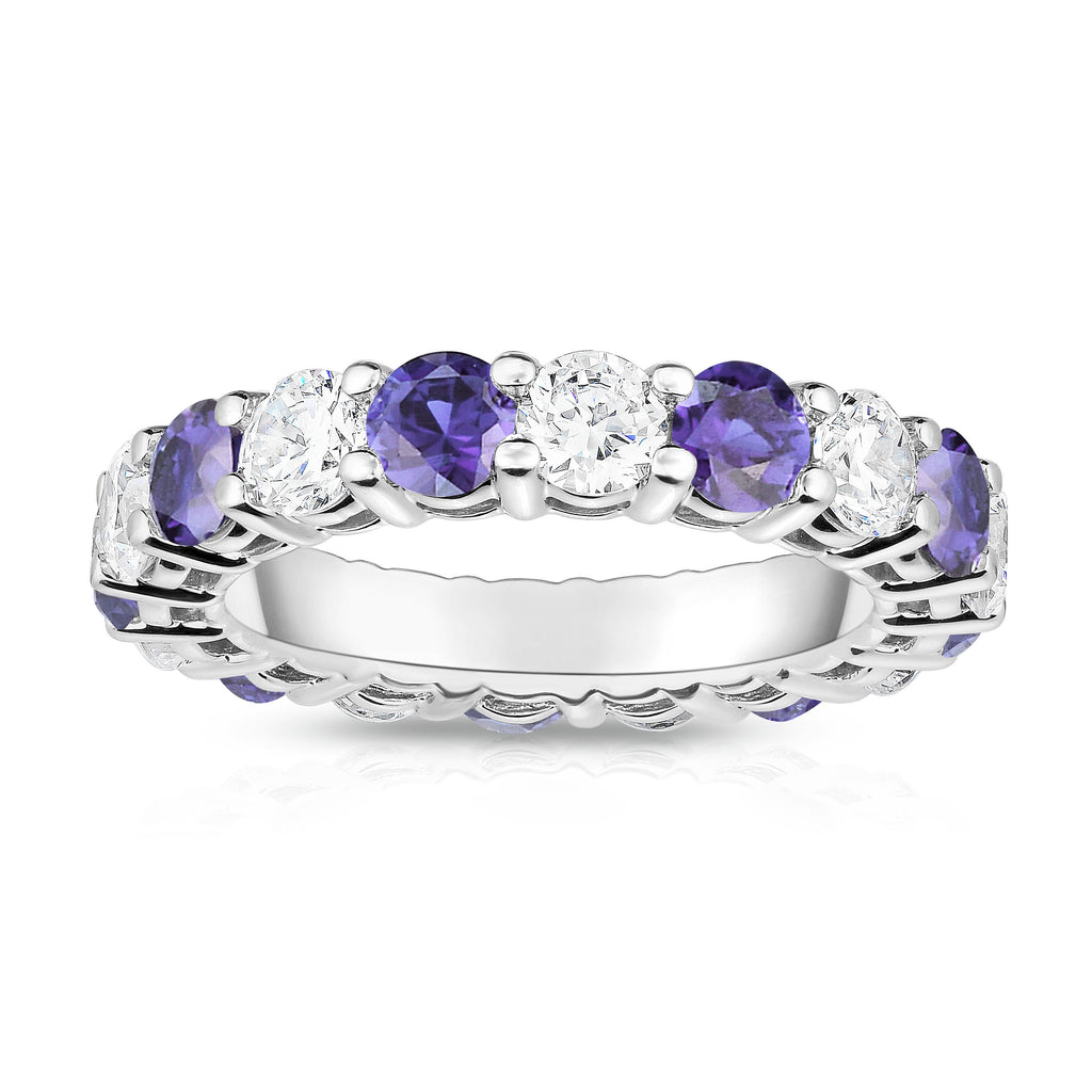 14K White Gold Tanzanite & Diamond (4.00 Ct-5.00 Ct, SI2-I1 Clarity) Eternity Ring