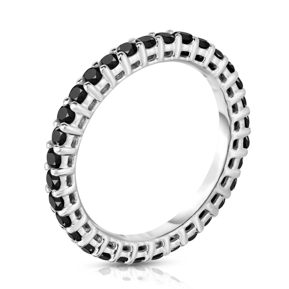 14K White Gold Black Diamond (0.90-1.00 Ct, G-H Color, SI2-I1 Clarity) Eternity Band