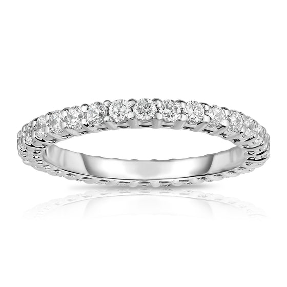 14K White Gold Diamond (1.80-2.00 Ct, G-H Color, SI2-I1 Clarity) Eternity Band