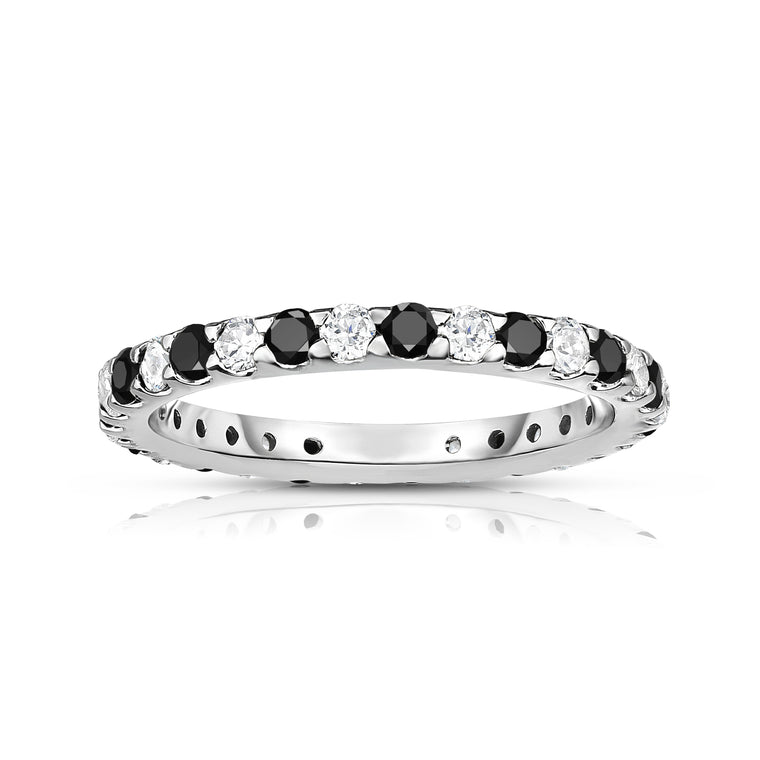 14K White Gold Black & White Diamond (0.90 Ct-1.00 Ct, SI2-I1 Clarity) Eternity Ring