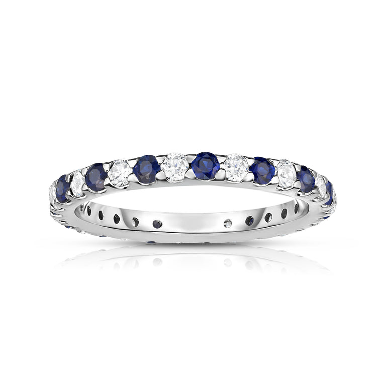 14K White Gold Blue Sapphire & Diamond (0.90 Ct-1.00 Ct, SI2-I1 Clarity) Eternity Ring