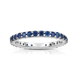 14K White Gold Blue Sapphire Eternity Ring (1.10 cttw)