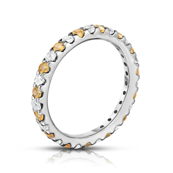 14K White Gold Citrine & Diamond (0.90 Ct-1.00 Ct, SI2-I1 Clarity) Eternity Ring