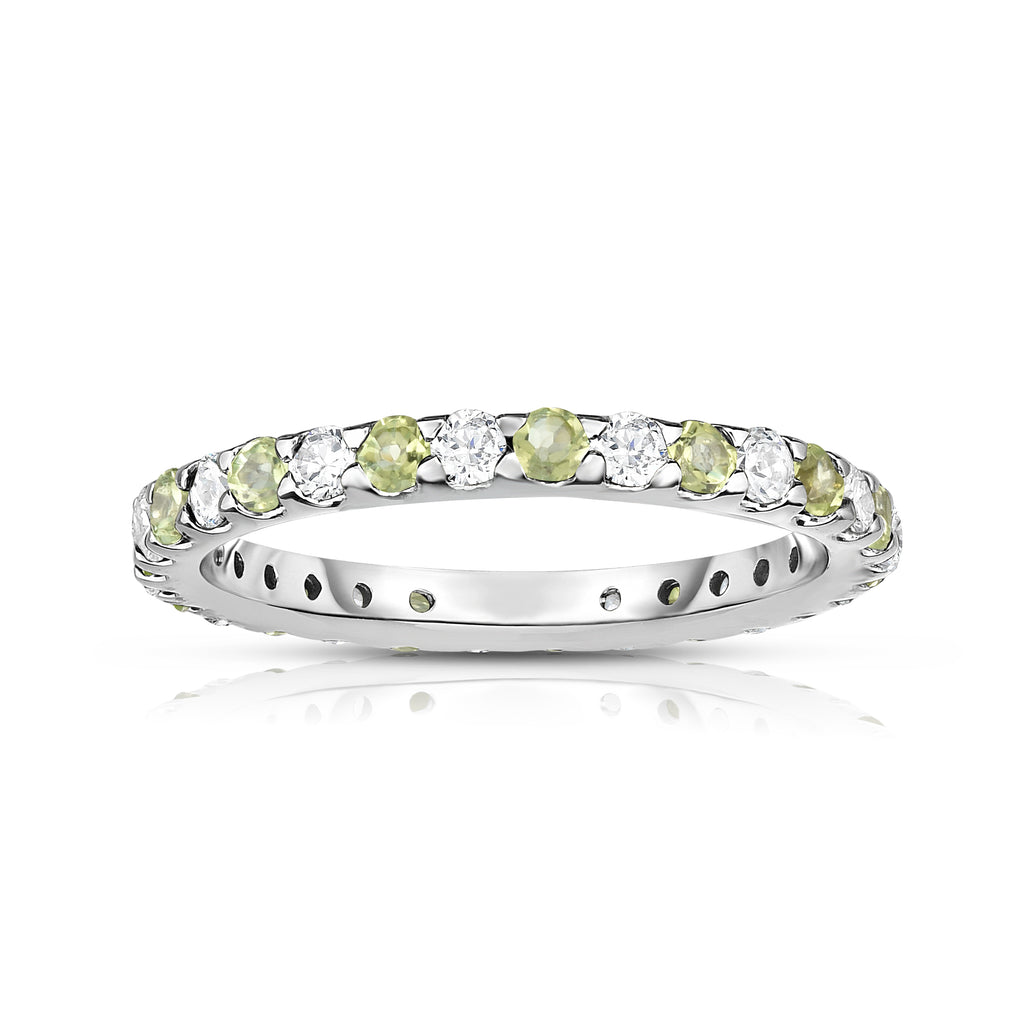 14K White Gold Peridot & Diamond (0.90 Ct-1.00 Ct, SI2-I1 Clarity) Eternity Ring