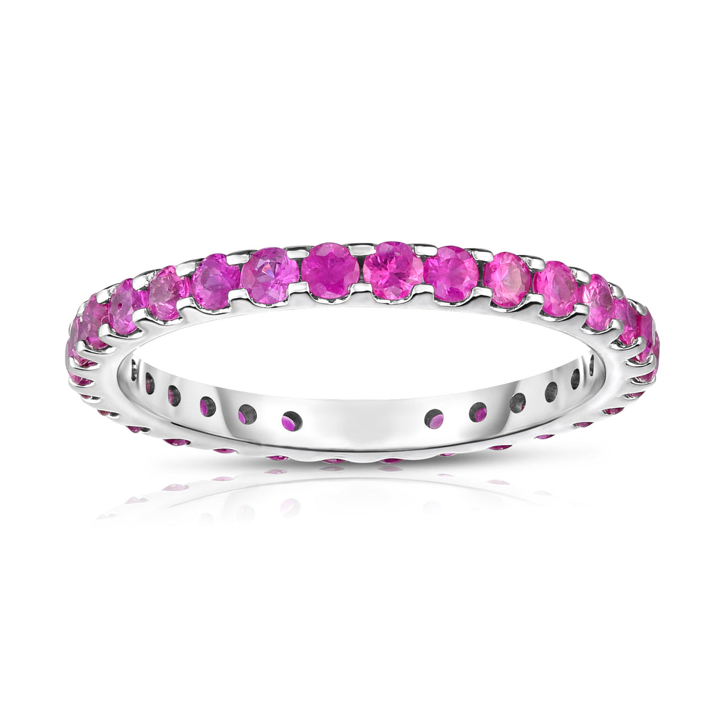14K White Gold Pink Sapphire Eternity Ring (1.10 cttw)