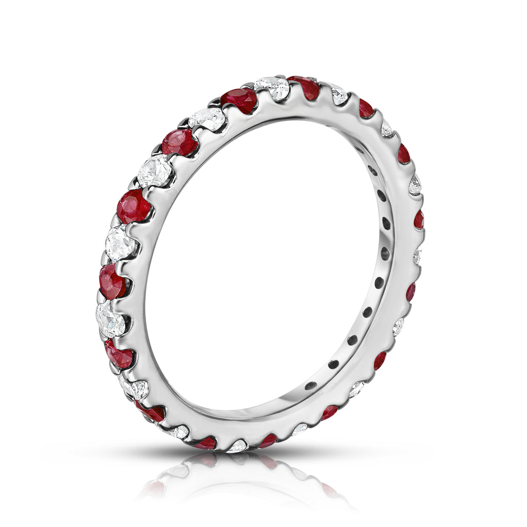 14K White Gold Ruby & Diamond (0.90 Ct-1.00 Ct, SI2-I1 Clarity) Eternity Ring