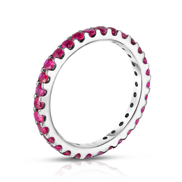 14K White Gold Ruby Eternity Ring (1.10 cttw)