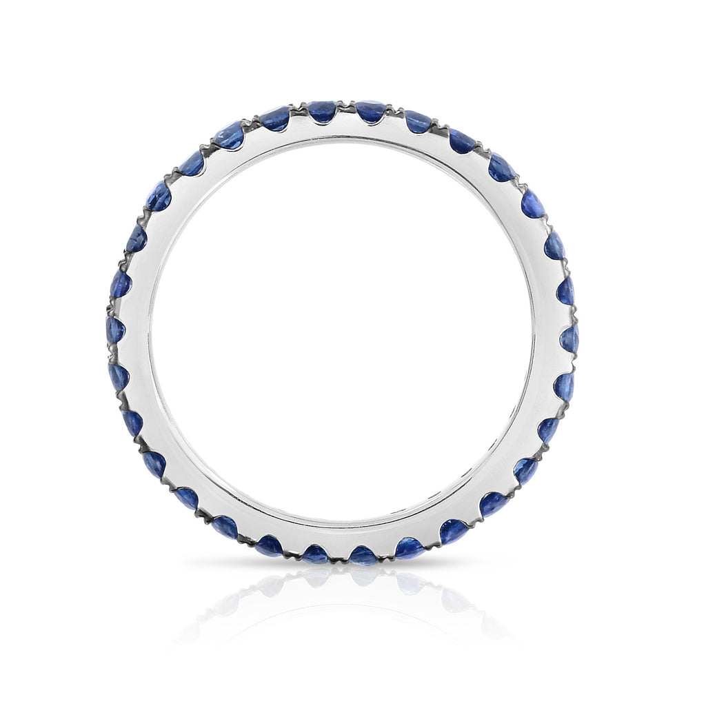 14K White Gold Blue Sapphire Eternity Ring (1 cttw)